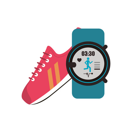 heart monitor: flat design sneaker and  heart rate wrist monitor  icon vector illustration Illustration