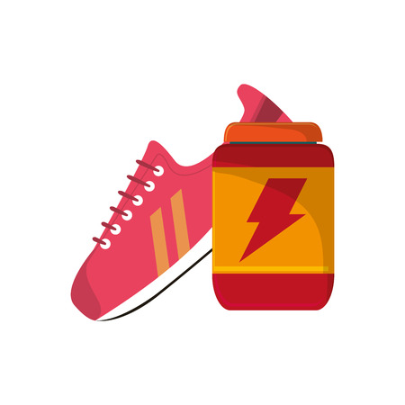 supplement: flat design sneaker and protein supplement  icon vector illustration Illustration