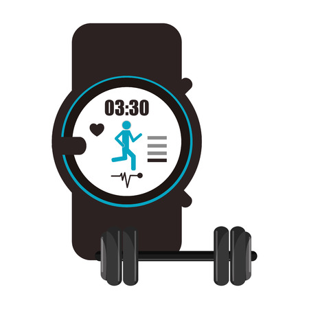 heart monitor: flat design heart rate wrist monitor and dumbbell  icon vector illustration Illustration