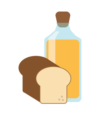 juice bottle: flat design juice bottle and bread  icon vector illustration