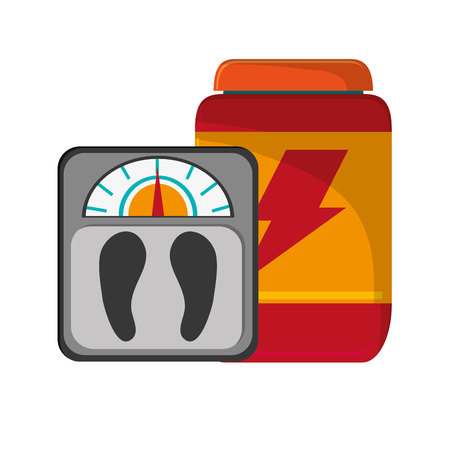 supplement: flat design protein powder supplement and  weight scale  icon vector illustration