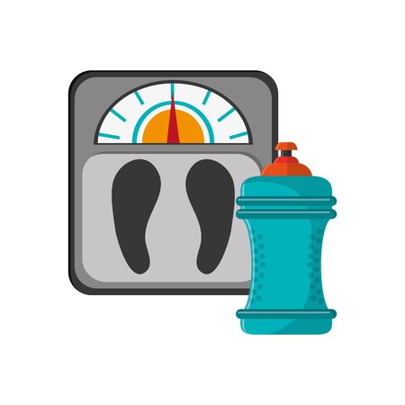 low scale: flat design weight scale and  sports bottle icon vector illustration
