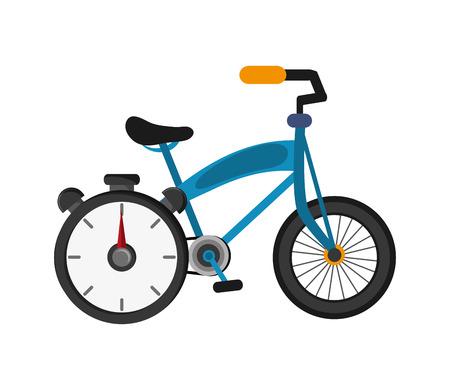 chronometer: flat design bike and chronometer icon vector illustration