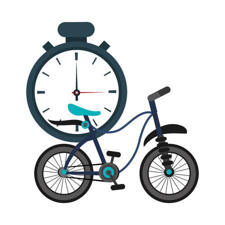 chronometer: flat design analog chronometer and bike  icon vector illustration