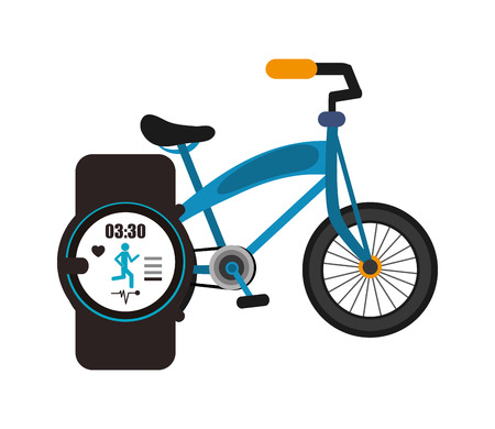heart monitor: flat design bike and heart rate wrist monitor icon vector illustration Illustration
