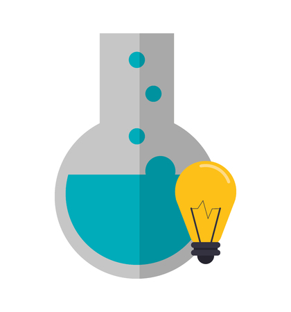 a solution tube: flat design round bottom chemistry flask and lightbulb icon vector illustration Illustration