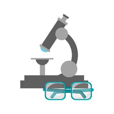 flat design microscope and glasses  icon vector illustration