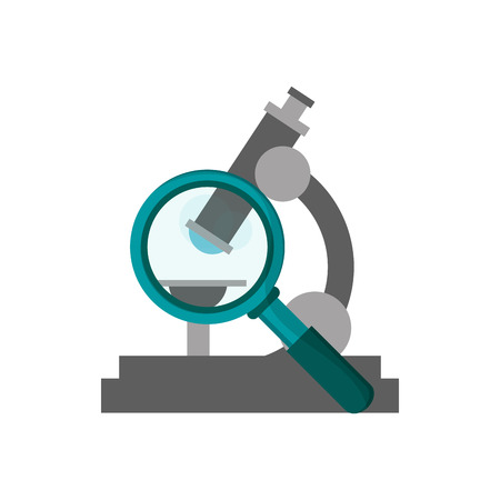 flat design microscope and  magnifying glass icon vector illustration Illustration
