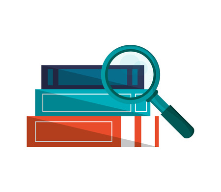 flat design books and magnifying glass icon vector illustration