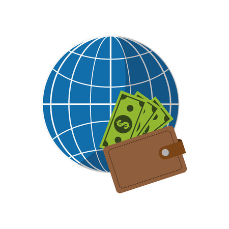 flat design earth globe diagram and wallet  icon vector illustration
