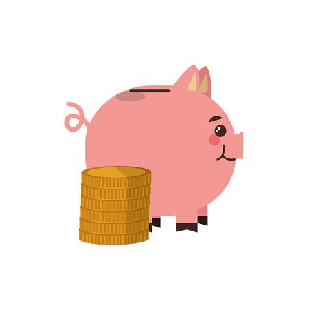 flat design piggy bank and money  icon vector illustration