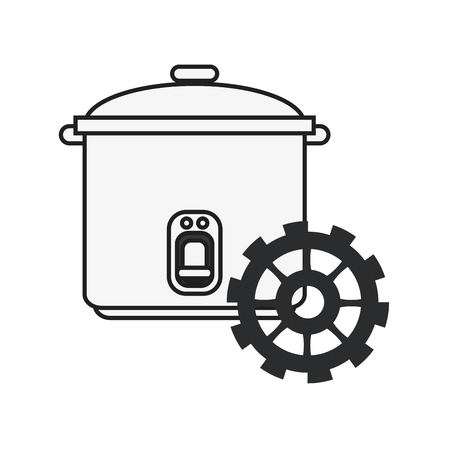 cooked rice: flat design rice cooker and gear icon vector illustration