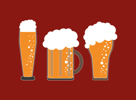 flat design glass of beer emblem image vector illustration