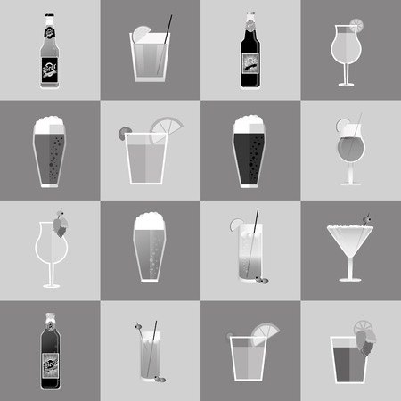 beers: flat design assorted cocktails and beers image vector illustration