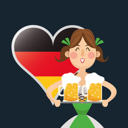 flat design germany oktoberfest beer icons image vector illustration Illustration