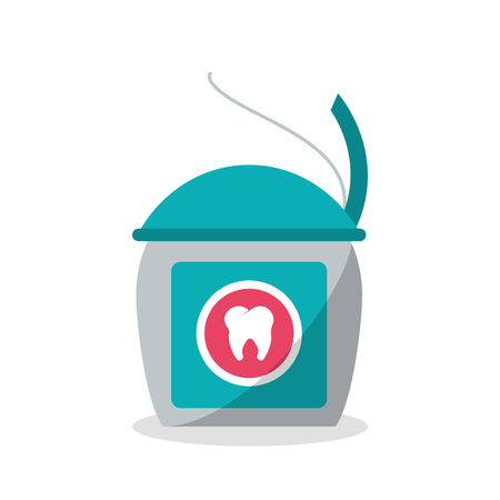 hygienist: Tooth floss icon. Dental medical and health care theme. Isolated design. Vector illustration