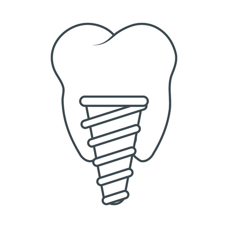 hygienist: Tooth implant icon. Dental medical and health care theme. Isolated design. Vector illustration Illustration