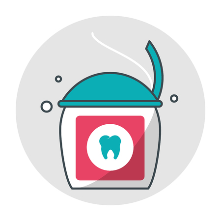 Tooth floss icon. Dental medical and health care theme. Isolated design. Vector illustration