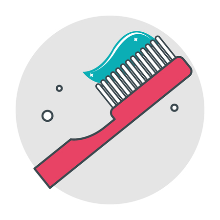 Toothbrush with toothpaste icon. Dental medical and health care theme. Isolated design. Vector illustration Illustration