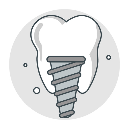Tooth implant icon. Dental medical and health care theme. Isolated design. Vector illustration Illustration