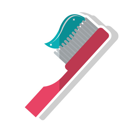 hygienist: Toothbrush with toothpaste icon. Dental medical and health care theme. Isolated design. Vector illustration Illustration