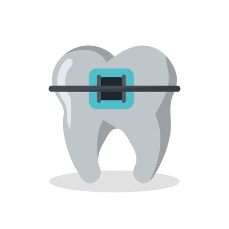 Tooth with bracers icon. Dental medical and health care theme. Isolated design. Vector illustration Illustration