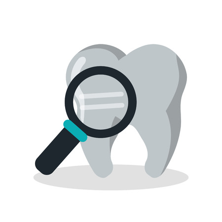 Tooth with lupe icon. Dental medical and health care theme. Isolated design. Vector illustration Illustration