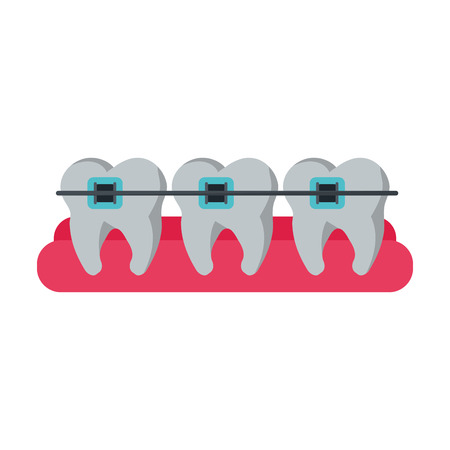 procedure: Teeth with bracers icon. Dental medical and health care theme. Isolated design. Vector illustration