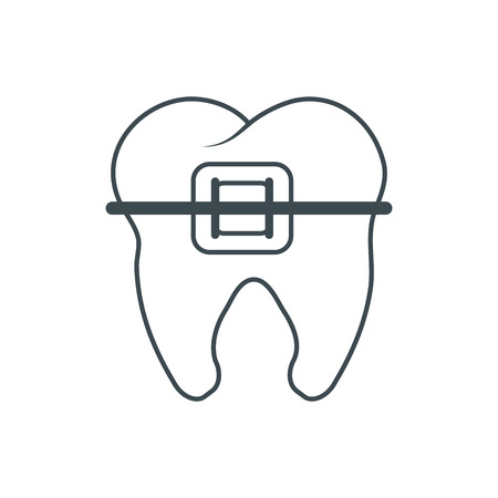 dental hygienist: Tooth with bracers icon. Dental medical and health care theme. Isolated design. Vector illustration Illustration