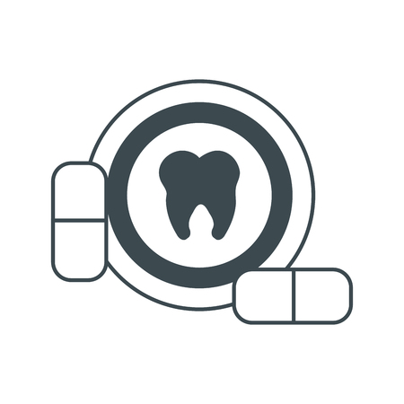 hygienist: Tooth and medicine icon. Dental medical and health care theme. Isolated design. Vector illustration