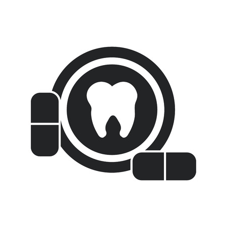 dental hygienist: Tooth and medicine icon. Dental medical and health care theme. Isolated design. Vector illustration