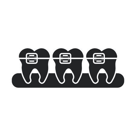 hygienist: Teeth with bracers icon. Dental medical and health care theme. Isolated design. Vector illustration