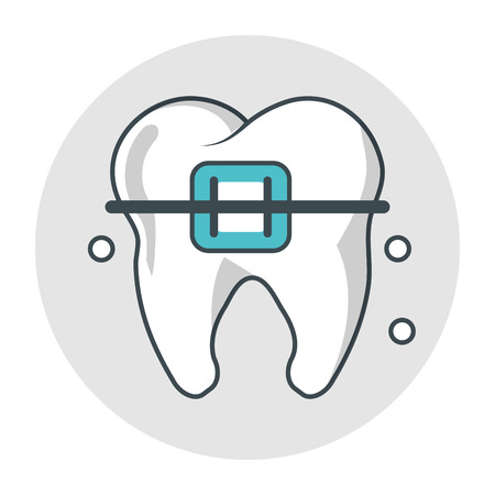 doctor appointment: Tooth with bracers icon. Dental medical and health care theme. Isolated design. Vector illustration Illustration