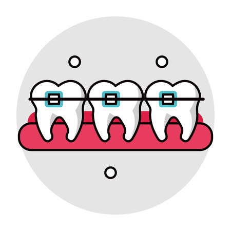 dental hygienist: Teeth with bracers icon. Dental medical and health care theme. Isolated design. Vector illustration