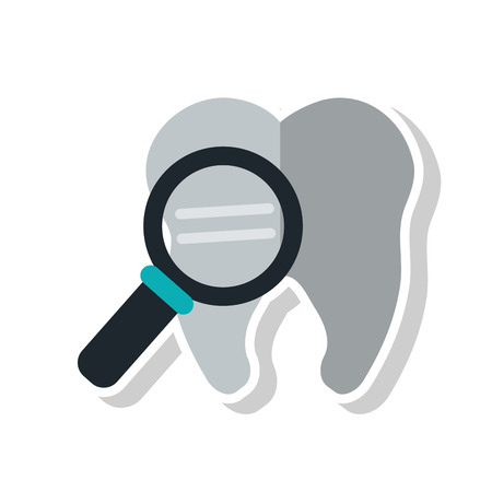 hygienist: Tooth with lupe icon. Dental medical and health care theme. Isolated design. Vector illustration Illustration