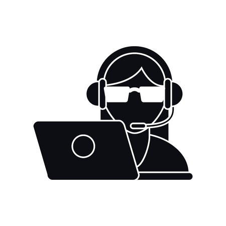 Operator woman with headphone icon. Call center and technical service theme. Isolated design. Vector illustration Illustration