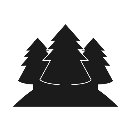 pine trees: Pine trees icon. Plant nature and forest theme. Isolated design. Vector illustration