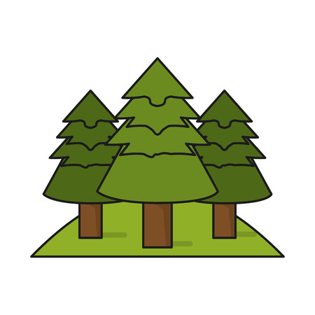 Pine trees icon. Plant nature and forest theme. Isolated design. Vector illustration