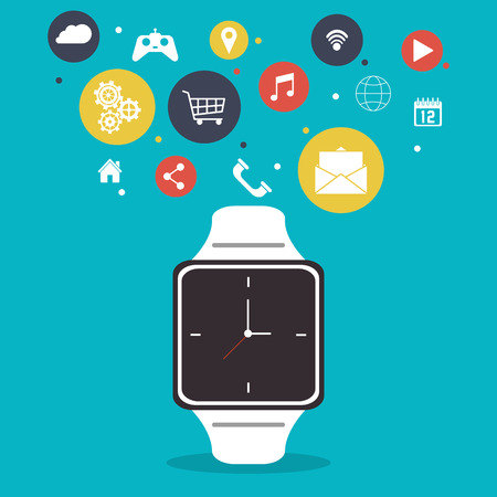gadget: Smart watch icon. App media wearable technology and gadget theme. Colorful design. Vector illustration Illustration
