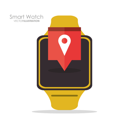 Smart watch and gps icon. App media wearable technology and gadget theme. Colorful design. Vector illustration