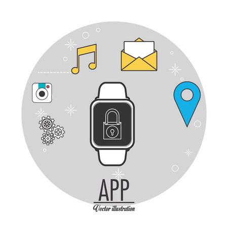 media gadget: Smart watch icon. App media wearable technology and gadget theme. Colorful design. Vector illustration Illustration