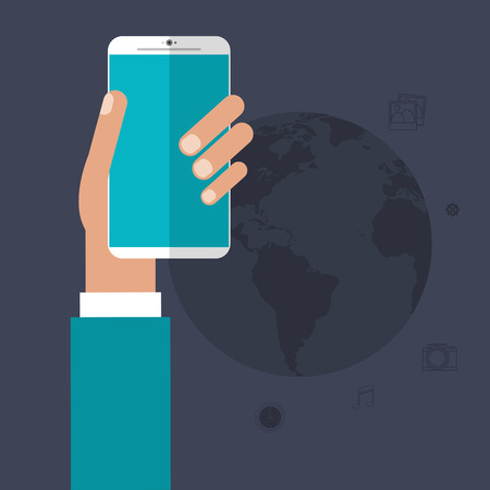 media gadget: Smartphone hand and planet icon. App media wearable technology and gadget theme. Colorful design. Vector illustration