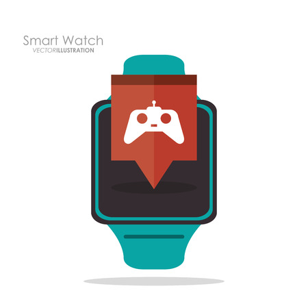 videogame: Smart watch and videogame icon. App media wearable technology and gadget theme. Colorful design. Vector illustration