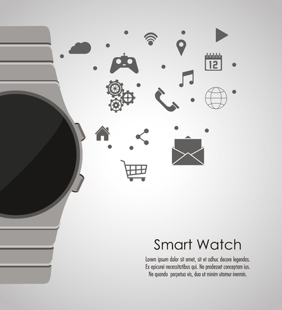 gadget: Smart watch icon. App media wearable technology and gadget theme. Grey design. Vector illustration