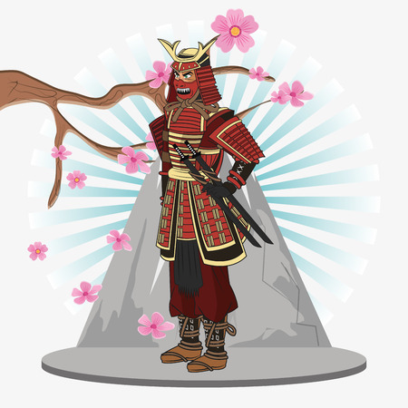 Samurai man cartoon icon. Japan and asian culture theme. Colorful design. Vector illustration Illustration