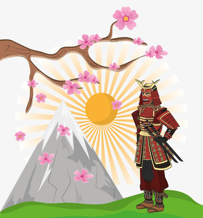 Samurai man cartoon icon. Japan and asian culture theme. Colorful design. Vector illustration Illustration