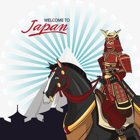 swordsman: Samurai and horse cartoon icon. Japan and asian culture theme. Colorful design. Vector illustration