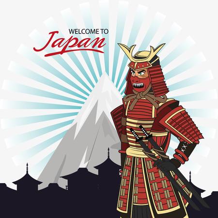 swordsman: Samurai man cartoon icon. Japan and asian culture theme. Colorful design. Vector illustration Illustration