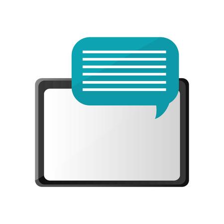 palmtop: flat design tablet and conversation bubble icon vector illustration Illustration