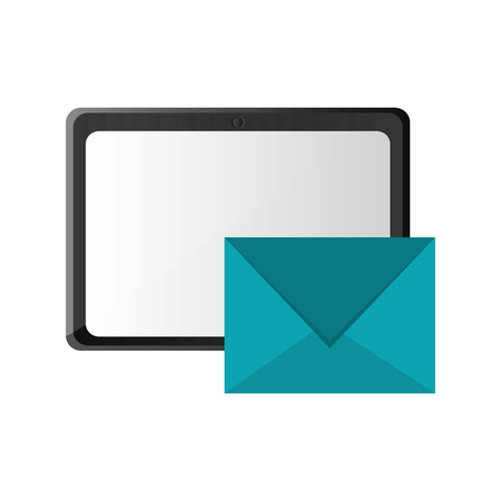 palmtop: flat design tablet and  message envelope icon vector illustration